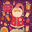 Christmas vector illustration with funny Santa Claus — Stockvektor