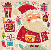 Merry Christmas and Happy New Year card with Santa — Stock vektor