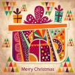 Vintage Christmas card with gift box — Stock Vector #34060089
