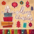 Vintage Christmas card with gift boxes — Imagen vectorial