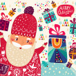 Christmas card with Santa Claus — Imagen vectorial