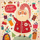 Merry Christmas and Happy New Year card with Santa — 图库矢量图片