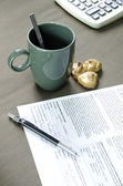 Coffee and documents. — Stock Photo