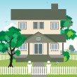 Stock Vector: House with a fence.