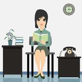 Woman Reading. — Stock Vector