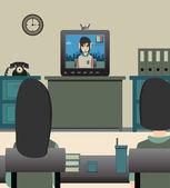 Kids watching TV. — Stock Vector