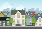 Casa in città. — Vettoriale Stock