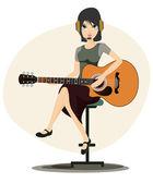 žena hraje kytara — Stock vektor