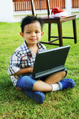 Children are using the Notebook — Stock Photo