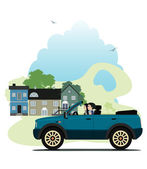 City driving — Stock Vector
