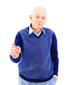 Portrait of a happy mature man showing a thumbs up on white — Stockfoto