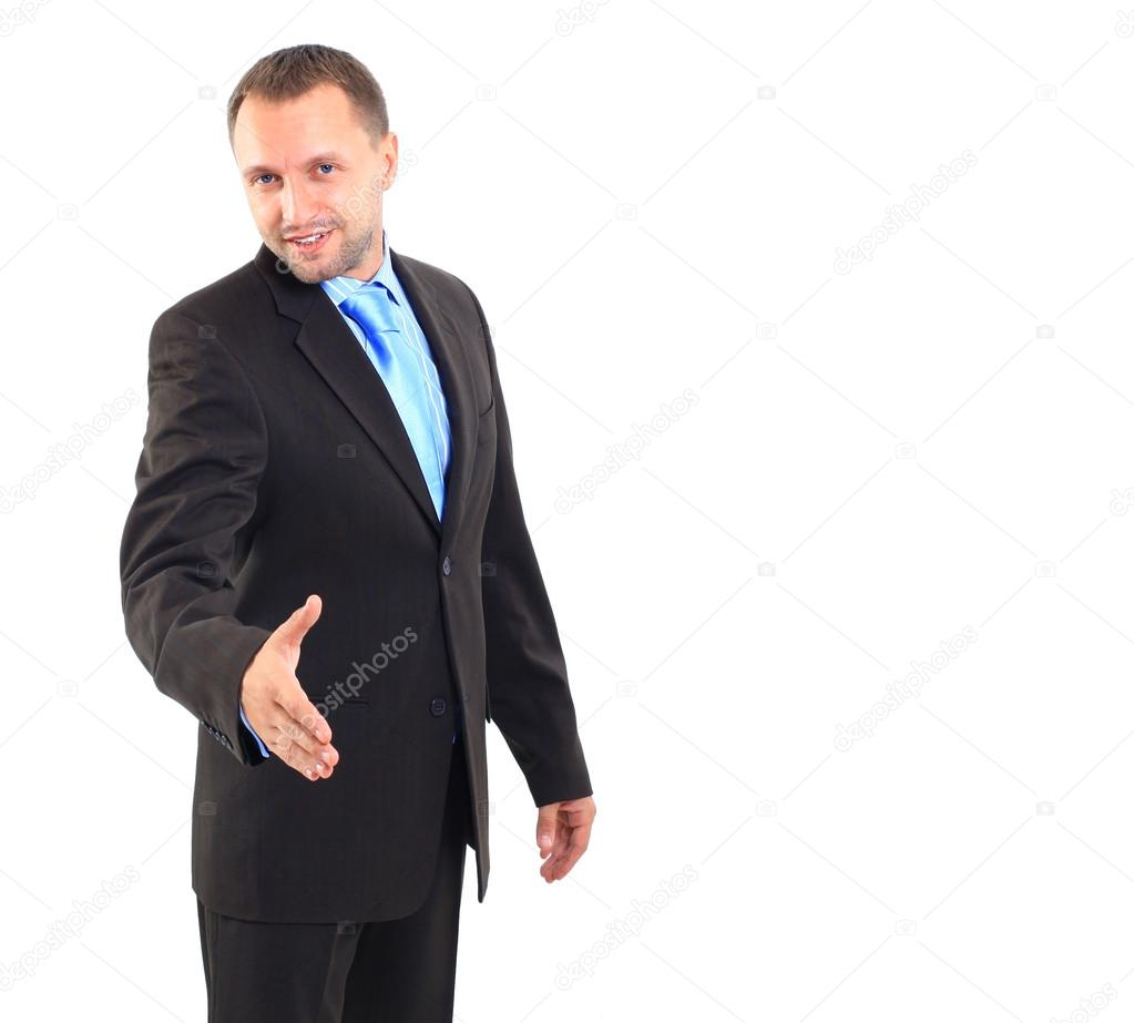 Young business man ready to set a deal over white background  — Stock Photo #12088636