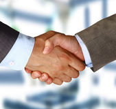 Closeup of a business hand shake between two colleagues — Stockfoto