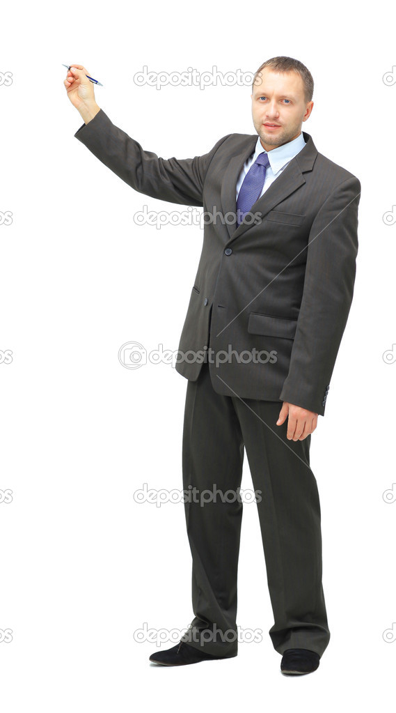 Businessman holds a marker and writes in air, suitable to add your own graph	  Stock Photo #12205556