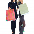 Two shopping women isolated on white background — Stock Photo