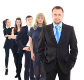 Business man and his team isolated over a white background — ストック写真