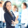 Face of beautiful woman on the background of business — Stock Photo #12694477