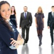 Face of beautiful woman on the background of business — Stockfoto