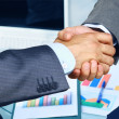 Closeup of business hand shake between two colleagues — Stock Photo #24892365
