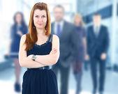 业务背景上的美丽女人的脸 — 图库照片