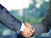 Closeup of a business hand shake between two colleagues — Stock Photo