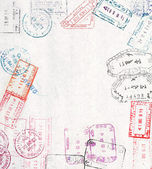 Travel background with different passport stamps — 图库照片