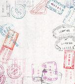 旅行与不同护照邮票背景 — 图库照片