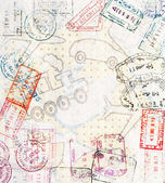 Travel background with different passport stamps and four types of transport — Stock Photo