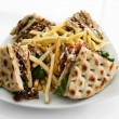 CLub sandwich with gyros - Stock Photo