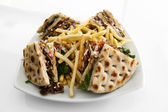 CLub sandwich with gyros — Stock Photo