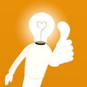 Cartoon of Light bulb man — Stock Photo