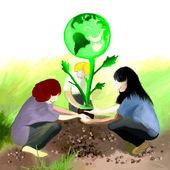 Planting Earth Tree — Stock Photo