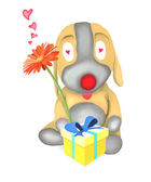 Dog Doll Holding Flower and Gift Box — Stock Photo