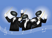 A music conductor with Musical Notes and Sound Waves — Stock Photo