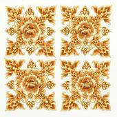 Golden Flower Pattern of Damask Seamless — Stock Photo