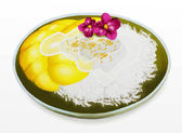 Thai Dessert, Mango with Coconut Sticky Rice and Orchid Flower — Stock Photo