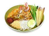 Pad thai fideos con camarones — Foto de Stock