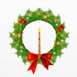 Christmas Wreath with Christmas Decoration and Candle — Stock Photo #28111857