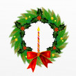 Christmas Wreath with Bow, Holly Leaves and Berries and  Ornament — Стоковая фотография