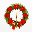 Wreath of Pine Leaves with Christmas Decoration — Stock Photo #28114277
