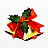 Two Golden Bells and Red Bow with Christmas Holly — Stock Photo