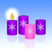Three Blue and One Pink of Christmas Candles — 图库照片