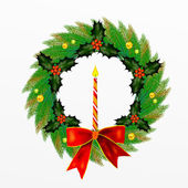 Christmas Wreath with Bow, Holly Leaves and Berries and Ornament — Stock Photo