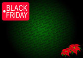 Black Friday Banner and Poinsettia Flowers on Green Background — Stock Photo