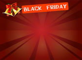 Black Friday Banner and Bell on Red Starburst Background — Stock Photo