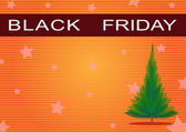 Black Friday Banner and Christmas Tree on Orange Background — Stock Photo