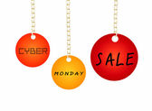 Cyber Monday Sale Tag Holding on A Goldenl Chain — Stock Photo