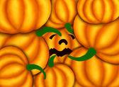Jack-o-lanterna abóboras sob várias abóboras — Foto Stock