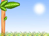 Green Grass and Tree on Blue Sky Background — 图库照片