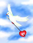 Hand Drawing, White Pigeons Carrying An Arrow and Heart — Stock Photo